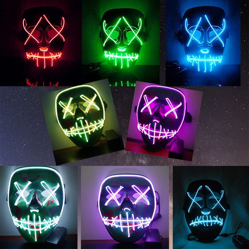 LED Light Mask Up Funny Mask from The Purge Election Year Great for Festival Cosplay Halloween Costume 2018 New Year Cosplay