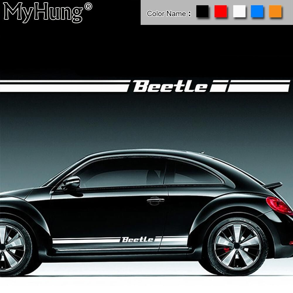 For VW Beetle For Volkswagen Beetle Car Body Sticker Customizable Motorsports Door Auto Stickers Decal Car-Styling 2pcs Per Set