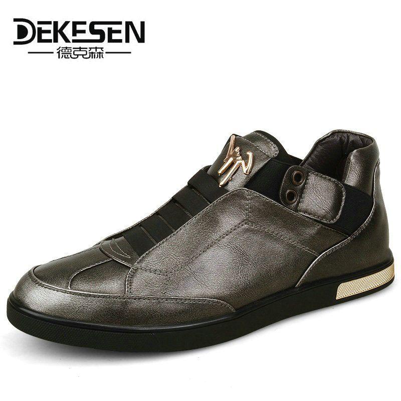 Estilo Retro de la Marca Mens Dekesen Zapatos de Cuero, alta Calidad de Oro Zapatos Casuales, primavera Otoño daily net ocio Pisos hombres