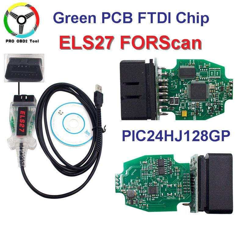 ELS27 FORScan Green PCB FTDI Chip+PIC24HJ128GP Works For Ford/Mazfa/Lincoln/Mercury ELS 27 Scanner better than elm327 Free ship