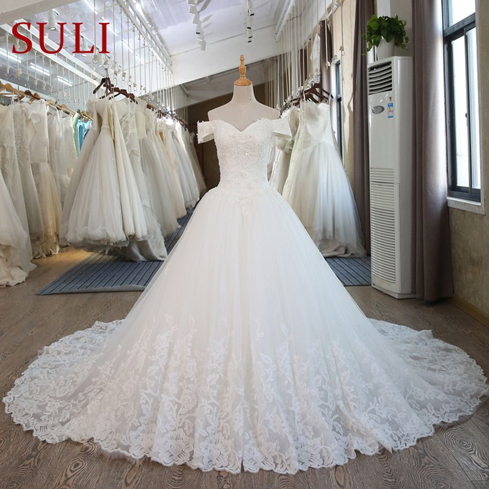SL-100 Real Pictures Ball Gown Bridal Dress Vintage Muslim Plus Size Lace Wedding Dress Princess with Sleeve