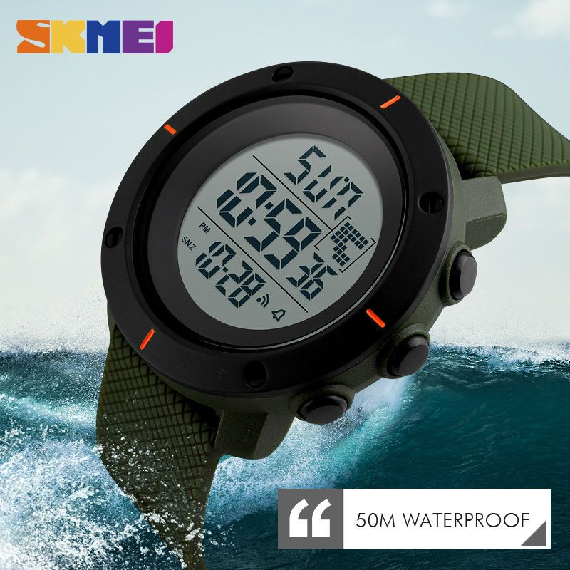 SKMEI Men Big Dial Sports Watches Multifunction <font><b>Chronograph</b></font> 50M Water Resistant Alarm Clock Date Digital Wristwatches 1213