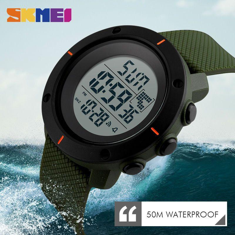 SKMEI Men Big Dial Sports Watches <font><b>Multifunction</b></font> Chronograph 50M Water Resistant Alarm Clock Date Digital Wristwatches 1213