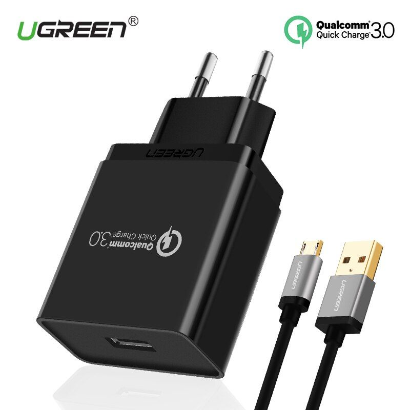 Ugreen USB Chargeur 18 W Charge Rapide 3.0 Mobile Téléphone Chargeur pour iPhone Rapide Chargeur Adaptateur pour Huawei Samsung Galaxy S8/S8 +