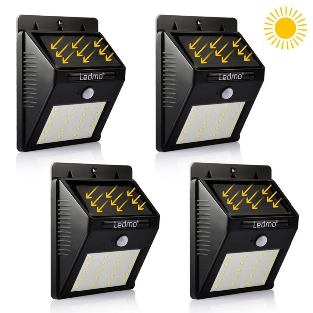4 Pack LED Solar Powered Lamp 20Leds Light Garden Waterproof Solar Panel Motion Sensor Street Decoration Solar Battery Led Lamp