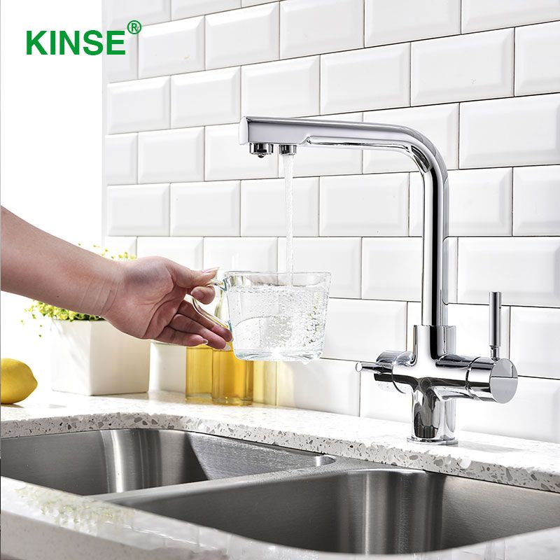 KINSE Top Quality Brass Material Chrome Best Kitchen Faucets with Filtered Drinking Water Dispenser