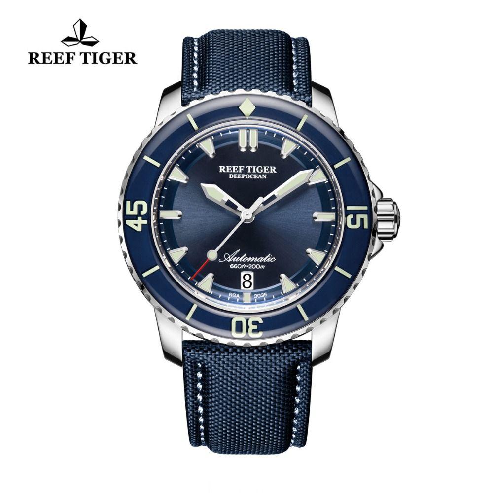 Riff Tiger/RT Super Leucht Dive Uhren Herren Analog Automatische Blau Zifferblatt Uhren mit Datum RGA3035