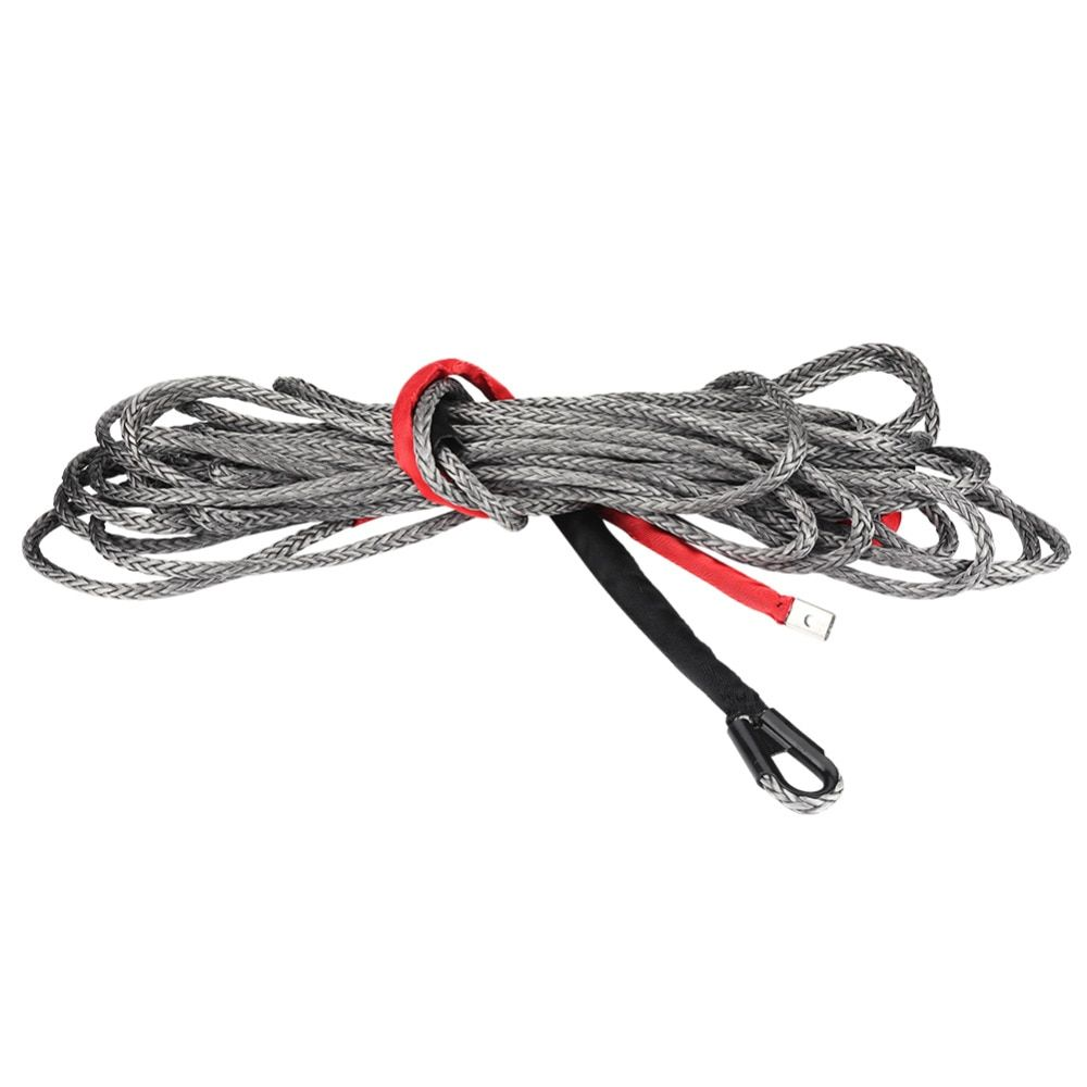 27m * 10mm Synthetic Winch Rope Line Cable with Protective Sleeve 20500 lbs for ATV SUV UTV Truck Black Universal Car Accessorie