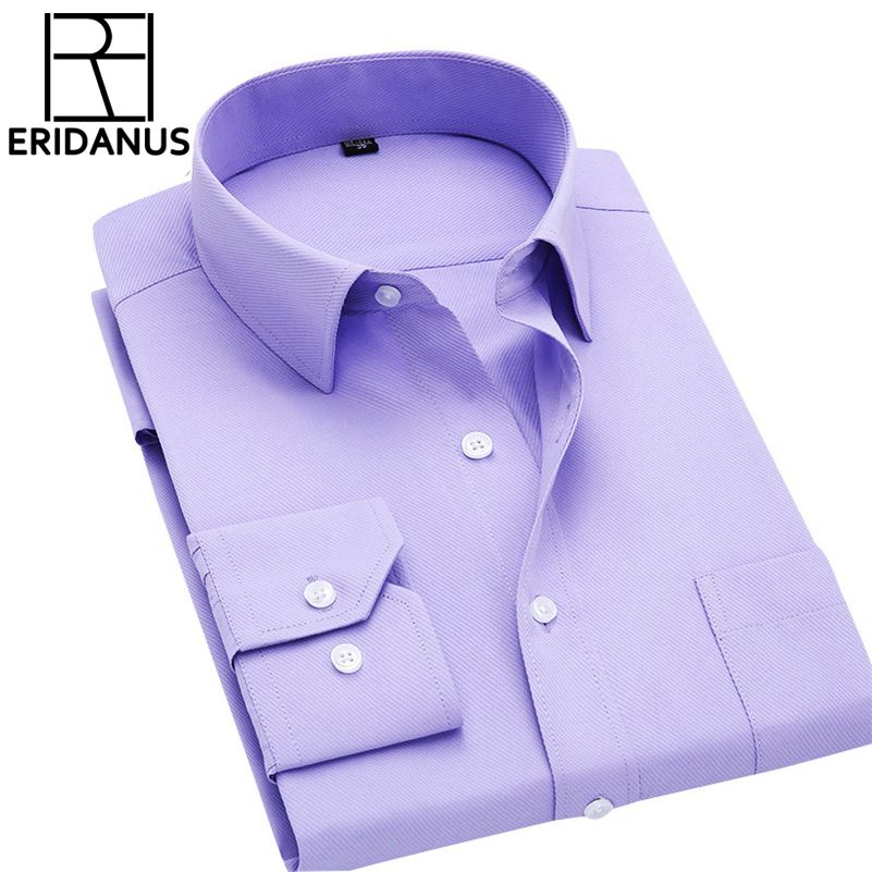 Chemise à manches longues hommes 2017 automne nouveau créateur de mode de haute qualité chemise solide Non fer Slim Fit chemises d'affaires formelles 4XL X00