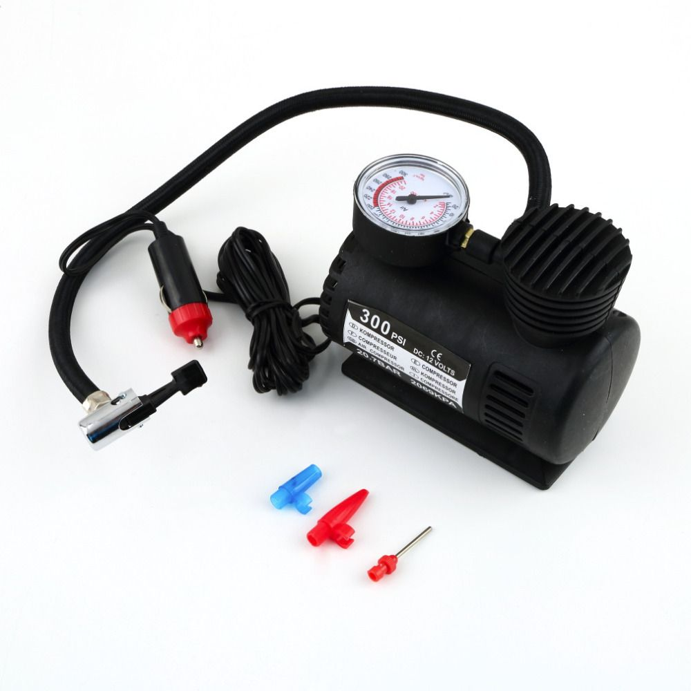 300PSI 60W Car Tire Tyre Inflator Pump 12V Mini Compact Tire Compressor Pump Tyre Air Inflator Pump for Car Bike Moto Hot