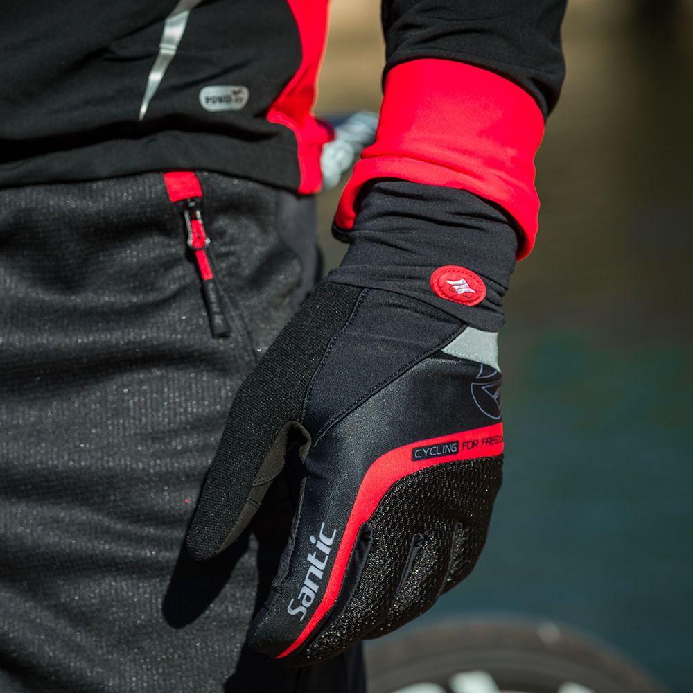 Santic Vélo Gants Hommes Rouge Noir Gel Chaud Complet Doigt avec Tactile Fonction Antichoc Garder Au Chaud pour L'hiver Précoce Automne c09046