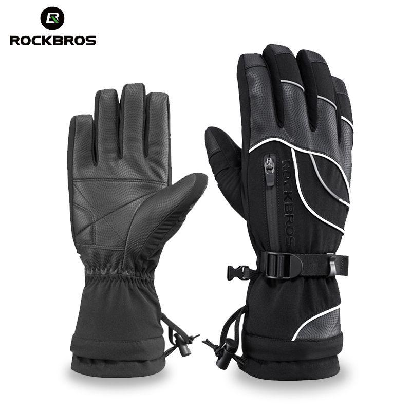 ROCKBROS Ski Gloves Thermal Waterproof Skiing Snowboard Gloves Snow Motorcycle Windproof -30 Degree Riding Hiking Winter Gloves