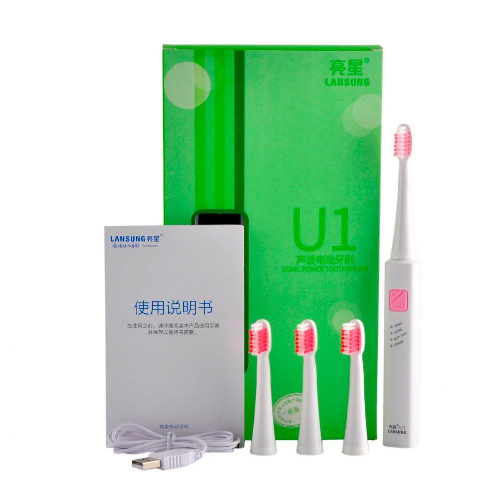 Lansung U1 тра Sonic Электрические зубные щётки Перезаряжаемые зуб Расчёски для волос с 4 шт. сменные головки U1 Брендовое качество