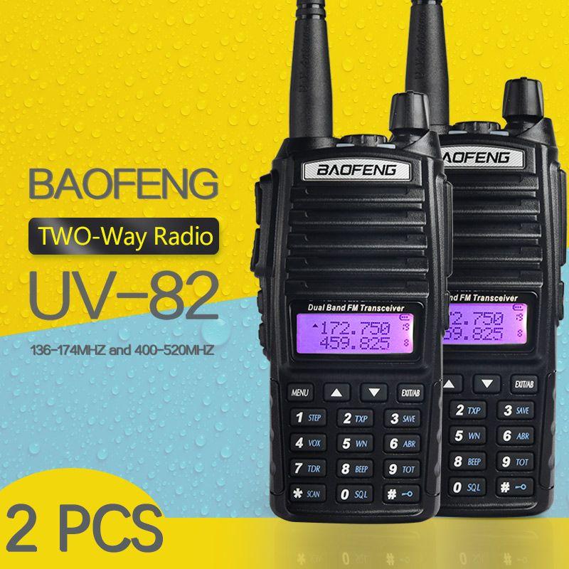 (2 PCS) BaoFeng UV-82 Dual-Band 136-174/400-520 MHz FM Ham Two way Radio, émetteur-récepteur, baofeng 82 talkie walkie
