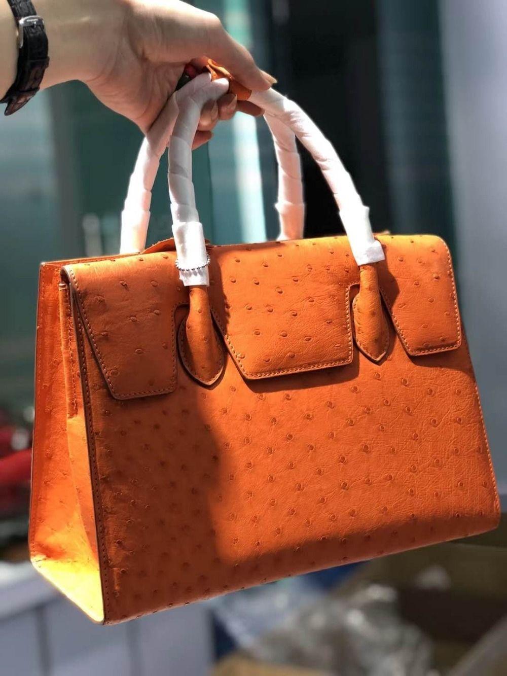 100% echtes real ostrich haut frauen tote tasche top level qualität full grain Ostrich haut frauen tote handtasche orange lila rosa