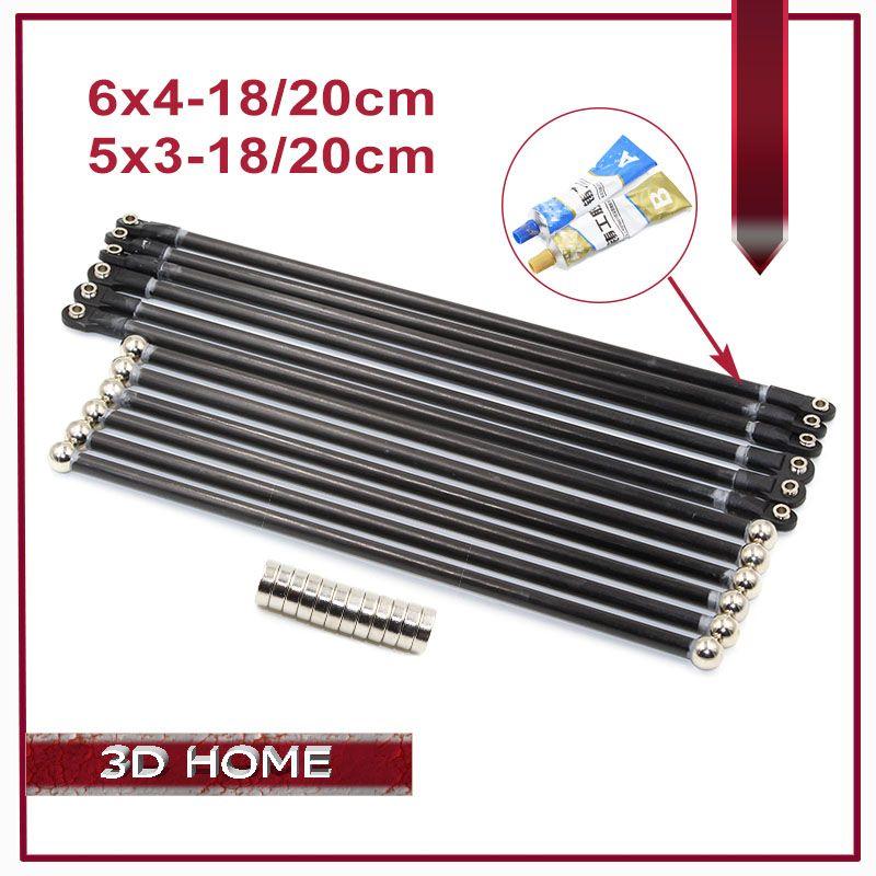 6pcs Was Installed Kossel Delta Kossel 5*3/6*4mm 18/20cm Magnetic Bracket Fiber Carbon Rod Parallel Arm for Mini 5347 For K800