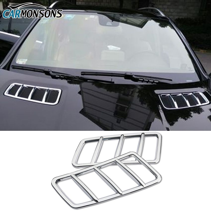 Carmonsons ABS Chrome Front Hood Air Vent Outlet Sticker Trim Cover for Mercedes Benz GL GLE GLS ML Class X166 W166 Car Styling