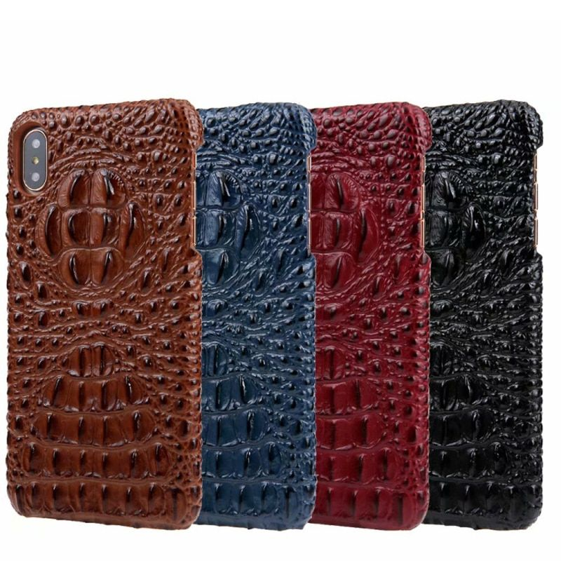 CKHB Real Leather Case for iPhone 6S 7/8 Plus X Mobile Phone Deluxe 3D Crocodile Pattern Retro Retro Slim Case