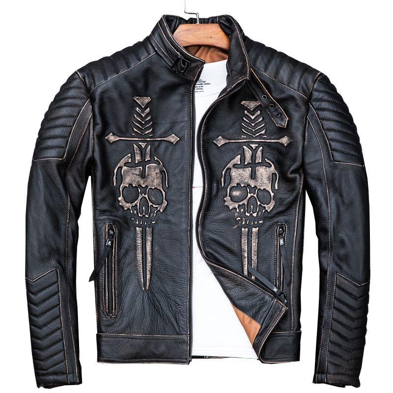 2019 Vintage Schwarz Männer Schädel Biker der Leder Jacke Plus Größe 4XL Echte Dicke Rindsleder Slim Fit Motorrad Mantel FREIES VERSCHIFFEN