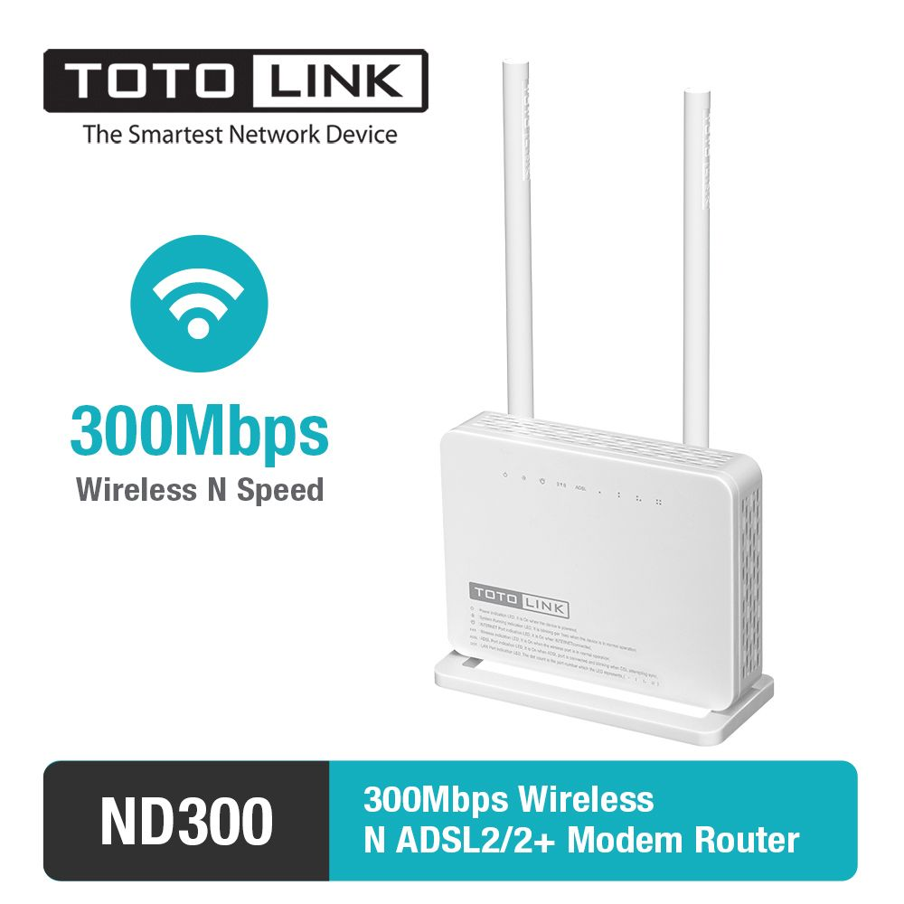 TOTOLINK ND300 Multi-functional Wireless N 300Mbps ADSL 2+ Modem WiFi Router&with 2 x 5dBi High Gain Antenna- Portuguese version