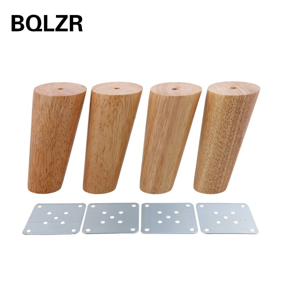 BQLZR 12cm Height Wood Color Oblique Tapered Reliable Wood Furniture Cabinets Legs Sofa Feets Pack of 4