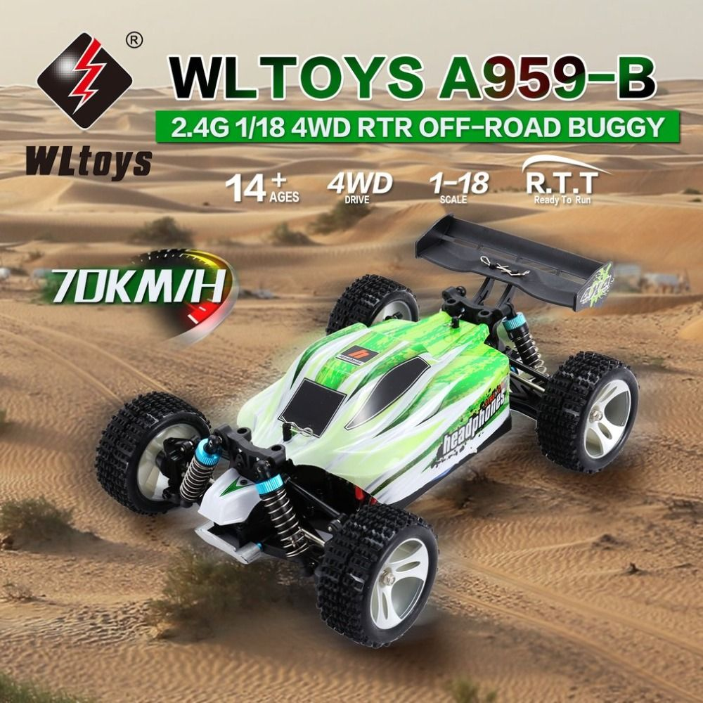 WLtoys A959-B 2.4G 1/18 Full Proportional Remote Control 4WD Vehicle 70KM/h High Speed Electric RTR Off-road Buggy RC Car