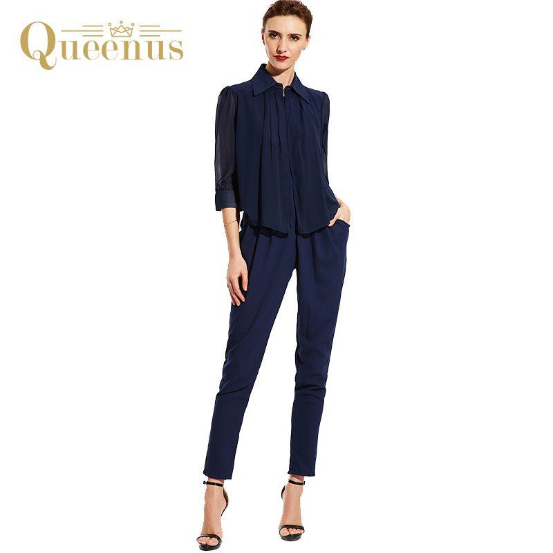 Queenus Mujeres Buzos Verano Otoño 2017 OL Plisado Top Camisas Pantalones Harem Oficina Elegante Azul de Las Mujeres Envío Gratuito