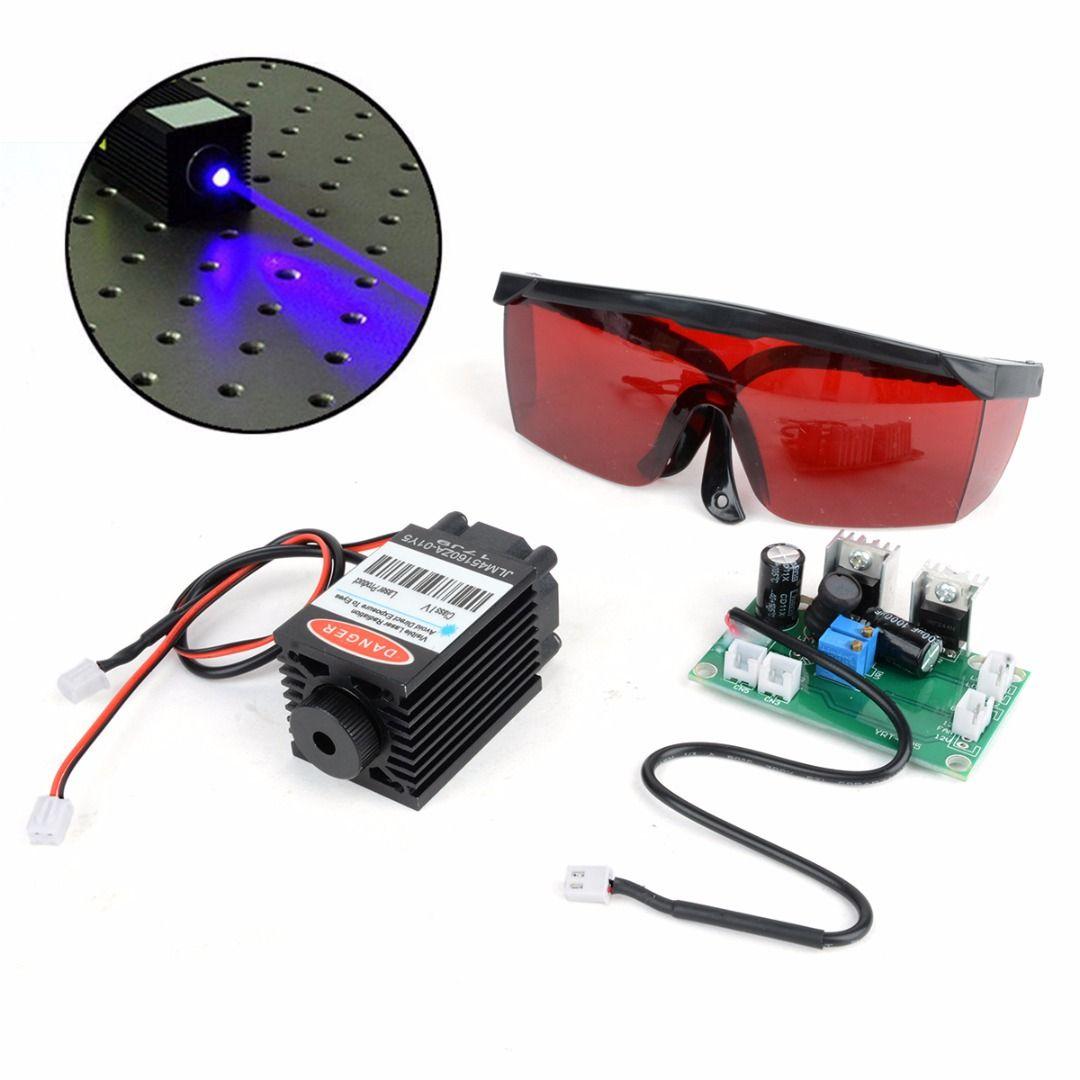 2.5 W Bleu Laser Tête De Gravure Module Puissant Bois Marquage Diode + Lunettes Lunettes + Circuit Conseil Pour Graveur Machine