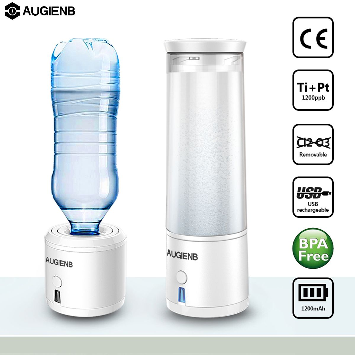 AUGIENB SPE/PEM Membrane H2 Rich Hydrogen Water Bottle Electrolysis Ionizer Generator USB Rechargeable removal O3 CL2