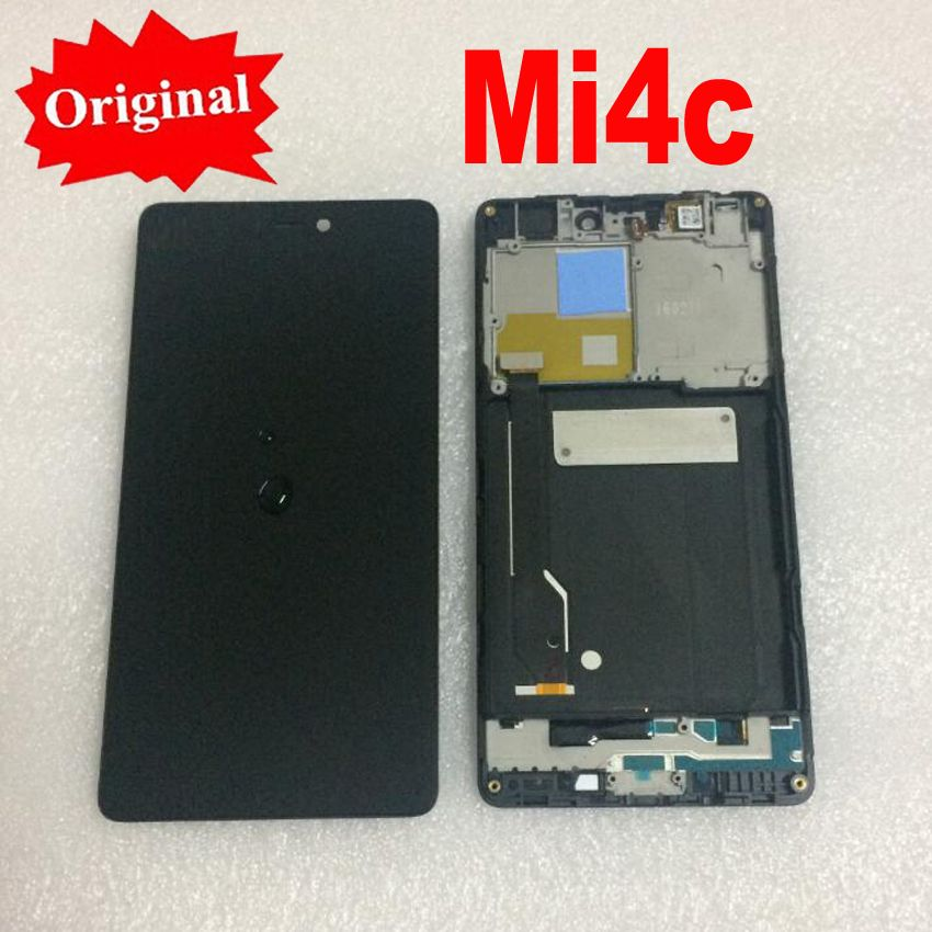 LTPro Original 5.0'' Tested Full LCD Display Touch Screen Digitizer Assembly with Frame For Xiaomi Mi4C M4C MI 4C Phone Parts