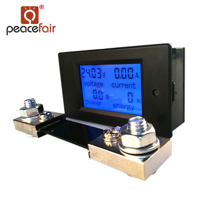 Peacefair DC Numérique Multifonction Voltmètre Ampèremètre 6.5-100 v 100A 4 IN1 Voiture Tension Testeur Amp Watt Kwh Mètre avec 100A Shunt