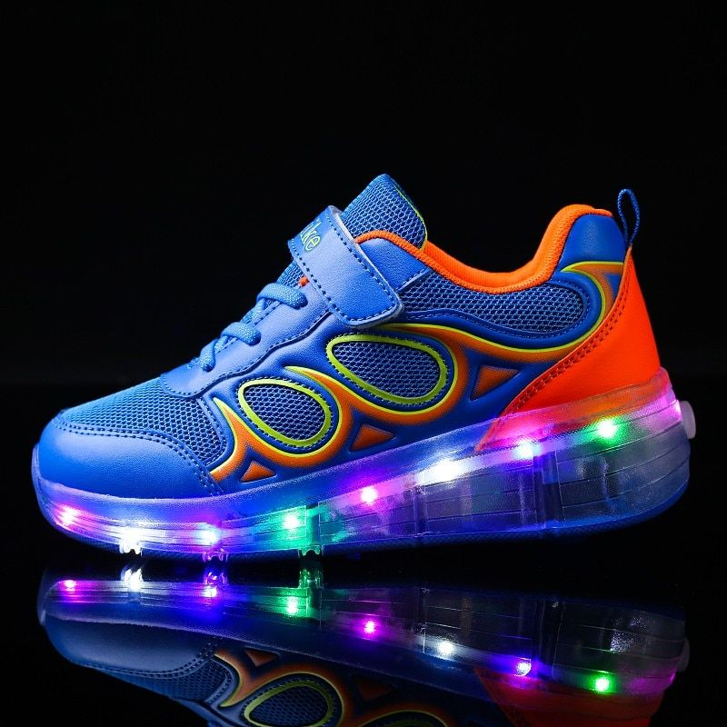 28-40PU leather Single Wheel Glowing Sneakers LED Light Shoes Boys Girls Little Kids/Big Kids Flashing Board Roller Skate Casual