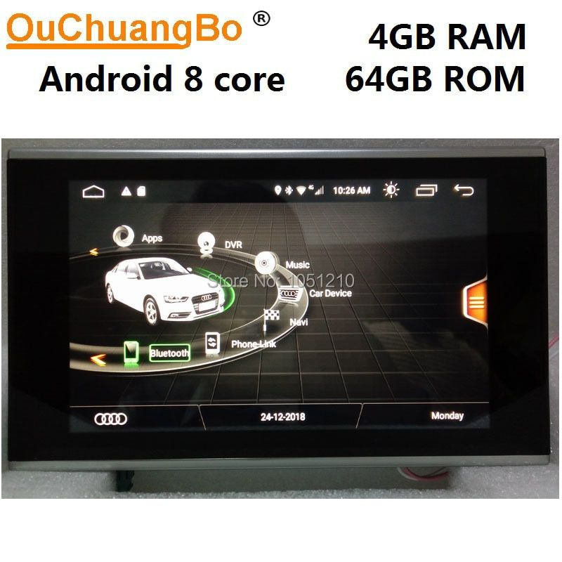 Ouchuangbo radio audio player recorder für A7 A6 C7 2012-2018 mit Android 9.0 gps navigation 8,4 zoll 8 core 4GB RAM 64GB ROM