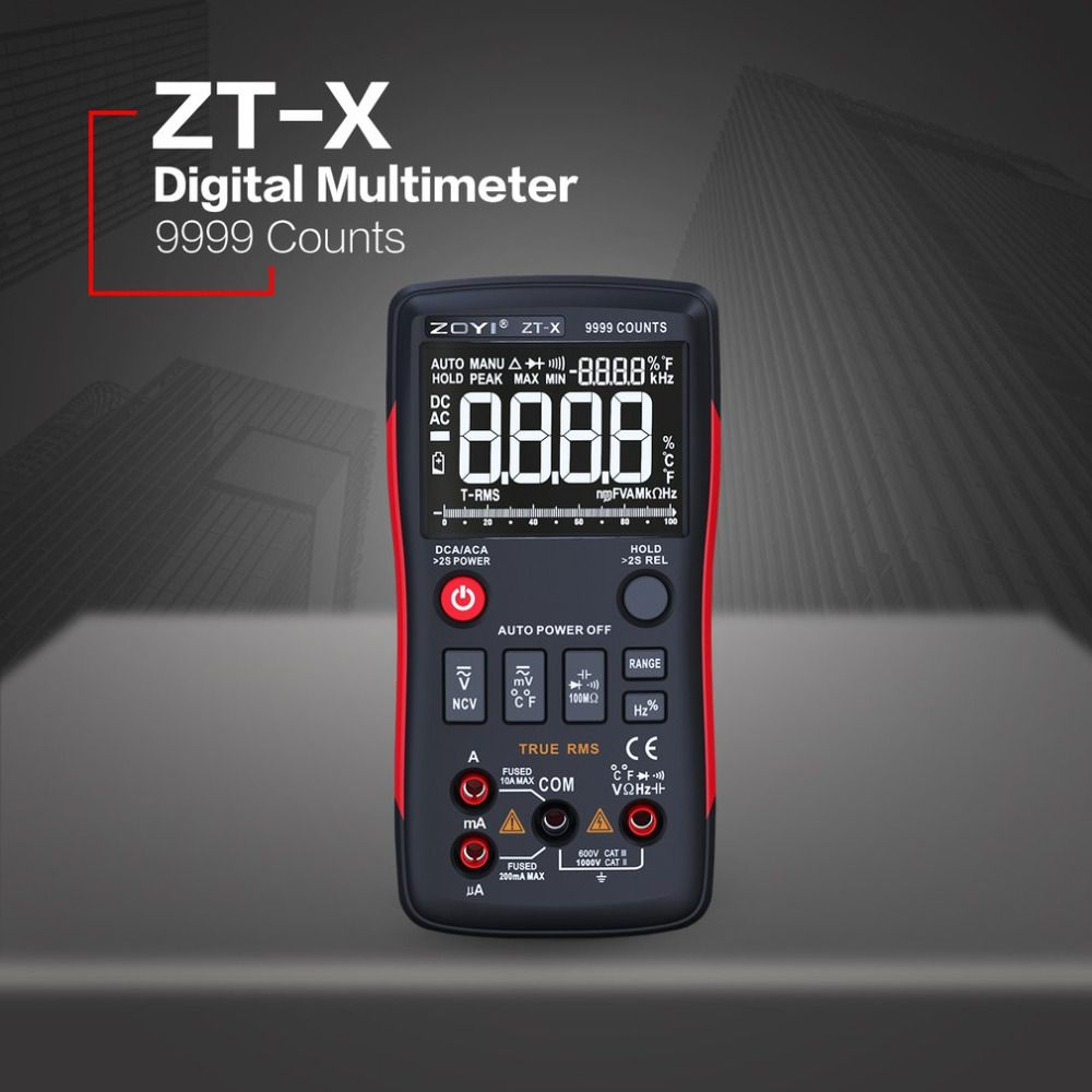 ZT-X Digital Multimeter Auto Range True RMS AC/DC Volt Amp Ohm Capacitance Duty Cycle NCV Diode Temperature Tester 9999 Counts