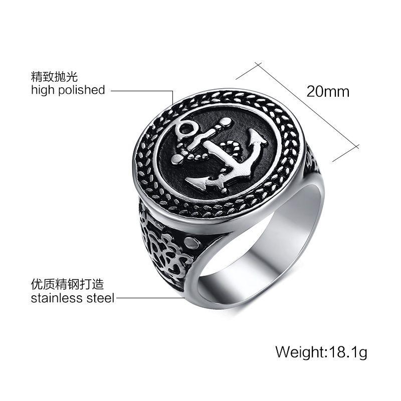 Hombres de acero inoxidable punky anillos 20mm ancla anillo de fundición masculino personal joyería puede grabado láser letras RC-301