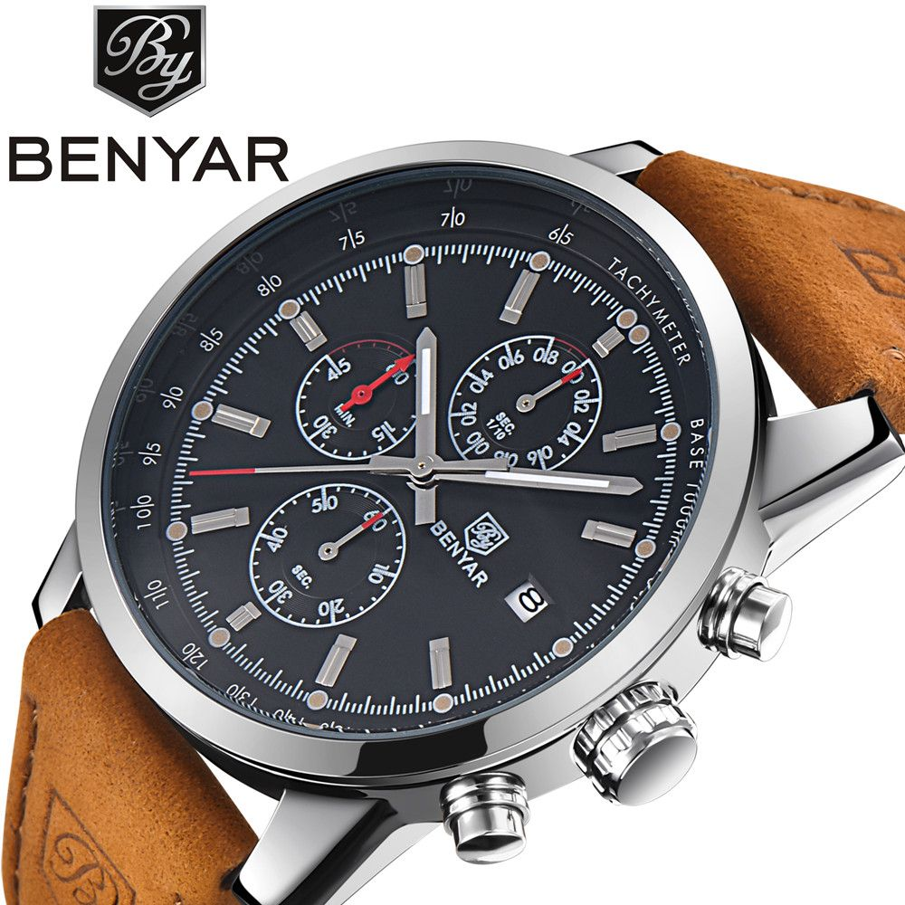 Benyar Men Watch Top Brand Luxury Male Leather Waterproof Sport Quartz Chronograph Military Wrist Watch Men Clock relogio