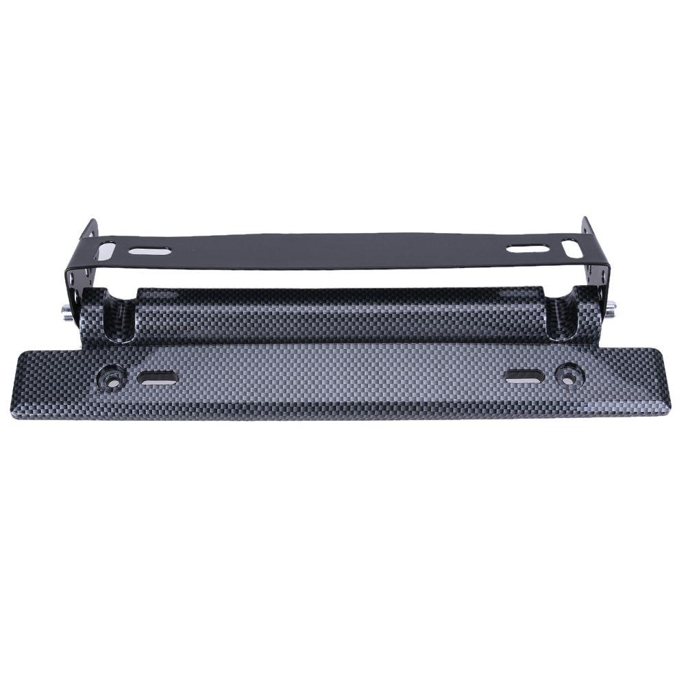 Universal Adjustable Car License Plate Frame Holder Carbon Fiber Racing Number Plate Auto Mount Bracket Car-styling