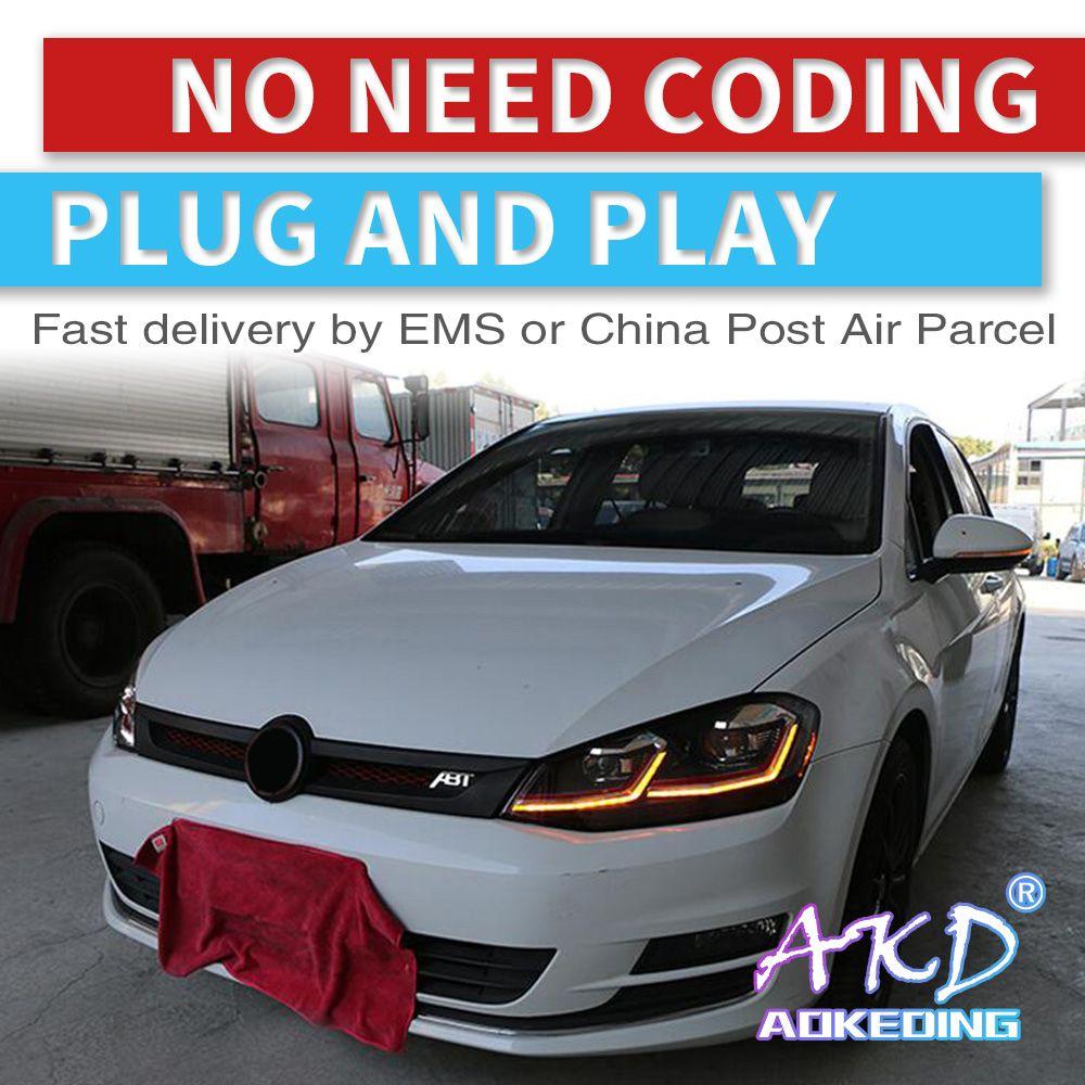 AKD tuning autos Scheinwerfer Für VW Golk7 Golf 7 MK7 Scheinwerfer LED DRL Lauf lichter Bi-Xenon Strahl Nebel lichter engel augen Auto