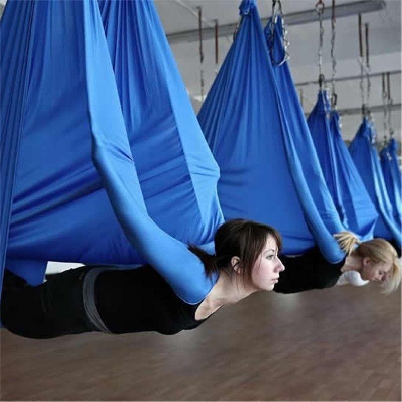 Elastic 5 meters 2017 Aerial Yoga Hammock Swing Latest Multifunction Anti-gravity Yoga belts for yoga training Yoga for sporting