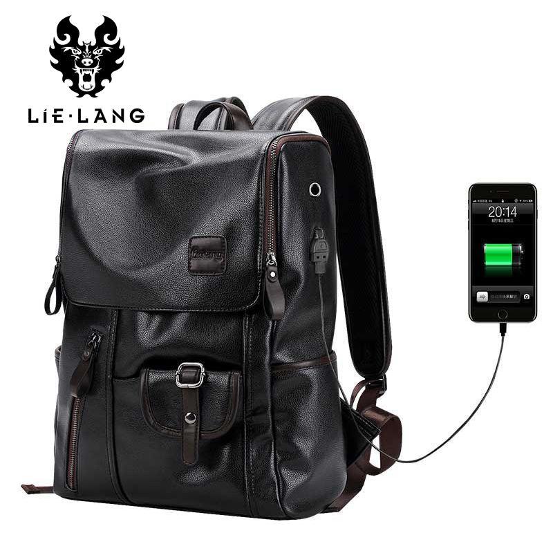 LIELANG Brand Backpack Men External USB Charge Antitheft <font><b>School</b></font> Bag PU Leather Travel Bag Casual Bagpack 14 Inch Laptop Rucksack