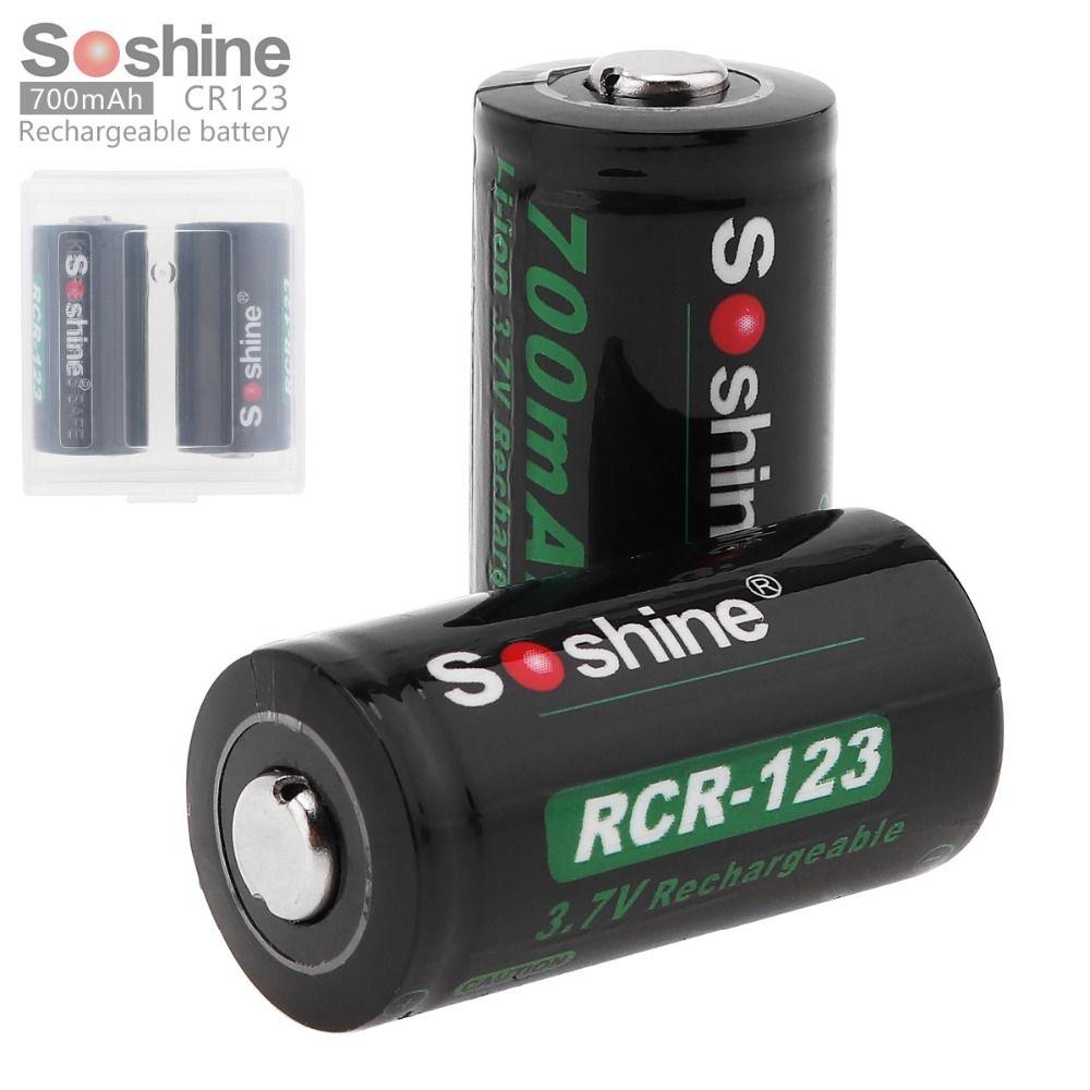 2 pc/ensemble Soshine 3.7 V 16340 700 mAh Lithium Rechargeable Batterie RCR123 Li-ion Batterie + Batterie Boîte De Rangement En Cas