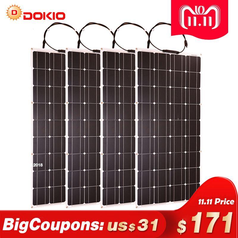 Dokio 4 stücke 8 stücke Solar Panel 100 W Monokristalline Solarzelle Flexible für Auto/Yacht/Dampfschiff 12 v 24 Volt 100 Watt Solar Batterie