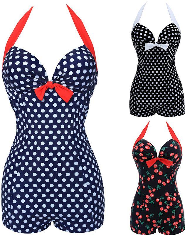 TONY NWT chaud Sexy maillots de bain femmes Style Vintage une pièce point/cerise imprimé noeud noeud chérie maillot de bain à bretelles grande taille M ~ 4XL