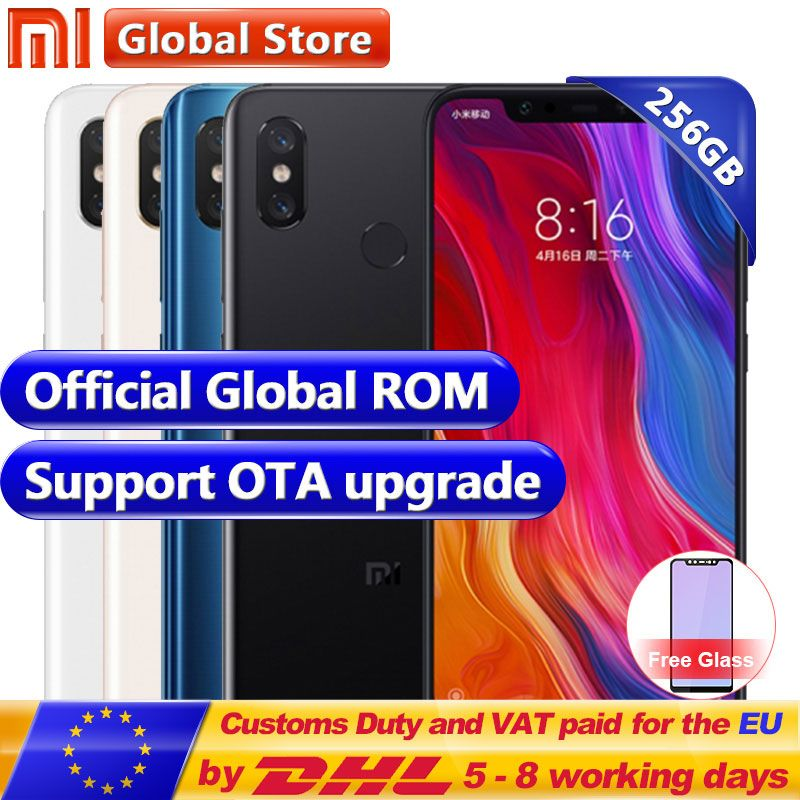 New Original Xiaomi MI 8 6GB RAM 256GB ROM Snapdragon S845 Octa Core Mobile Phone 3400mAh Dual 12.0MP+20.0MP 6.2