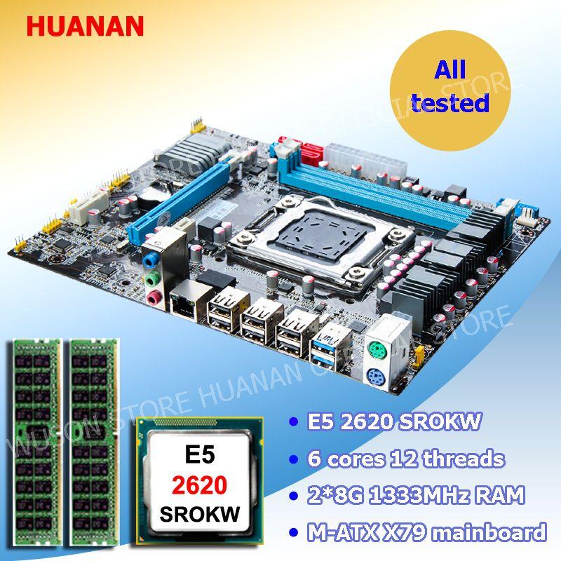 Computer DIY HUANAN ZHI X79 LGA2011 Micro-ATX motherboard CPU speicher combos Intel Xeon E5 2620 SROKW RAM 16g (2*8g) DDR3 REG ECC