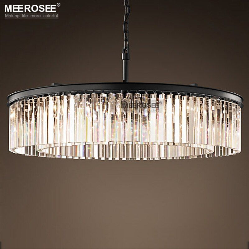 Round Shape Crystal Chandelier Lighting Lustres Luminaires Hanging Light for Restaurant Crystal American Style Lamp
