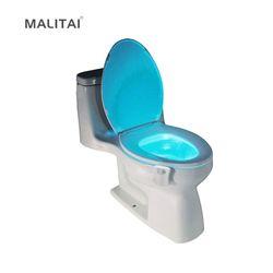 Assento Do Vaso Sanitário inteligente PIR Sensor de Movimento LED Night light RGB Cores Mudando 8 Tigela luz Movimento Ativado Backlight WC Wc luz