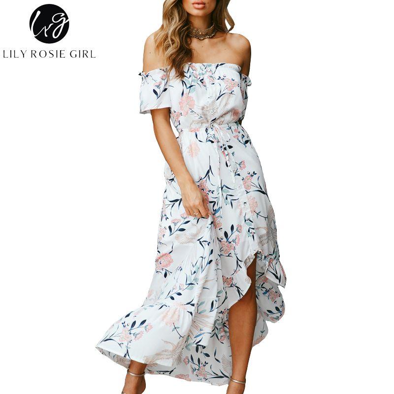Lily Rosie Girl Off Shoulder White Print Women Boho Dresses 2018 Summer Ruffles Short Sleeve Backless Beach Party Vestidos Dress