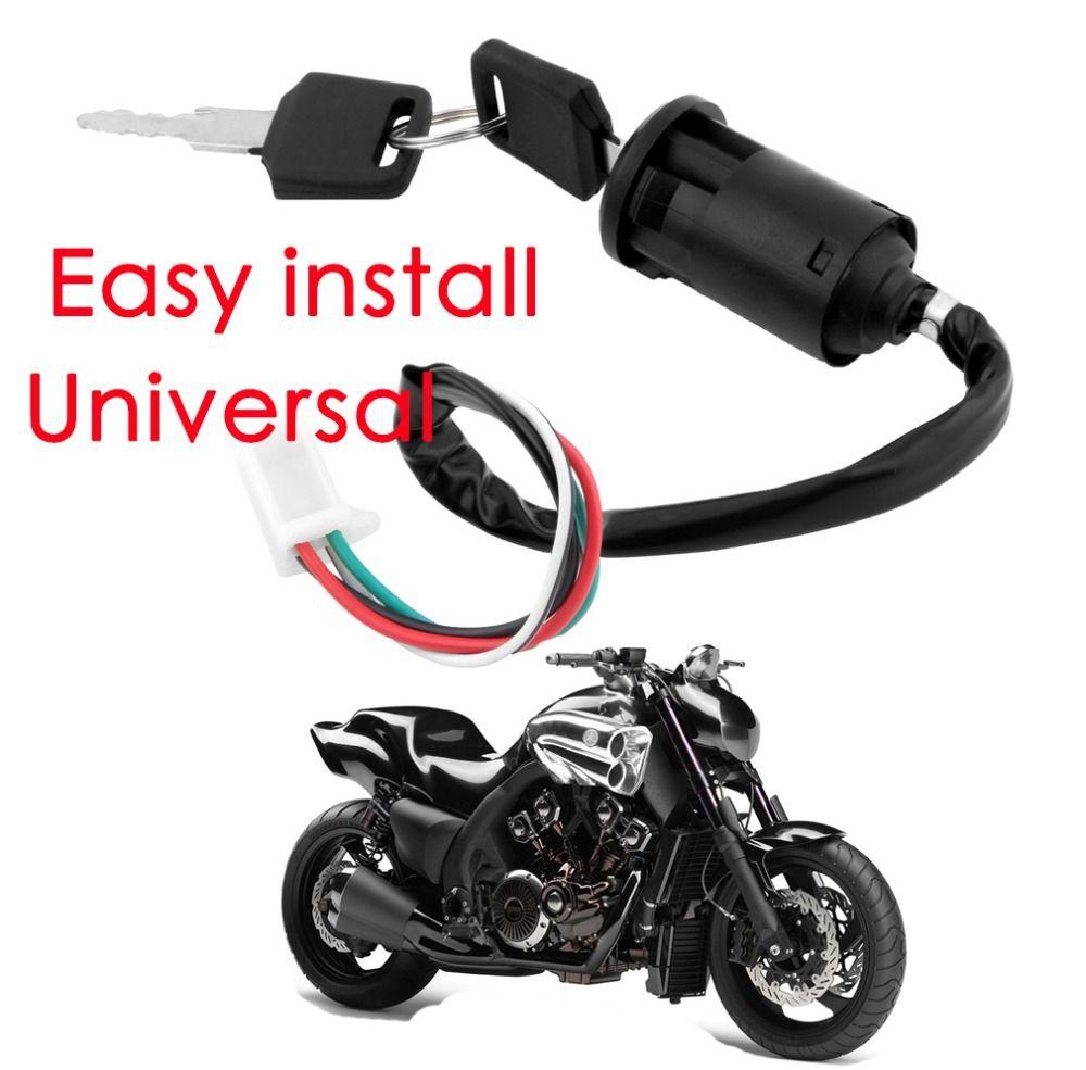 Zündschlüssel Schloss 4 Drähte Bike ATV Quad Go Kart Motard Motor Moped Buggy Roller für Yamaha für Kawasaki für Suzuki *