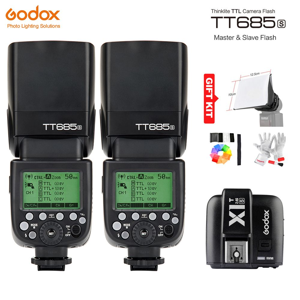 Godox TT685S GN60 TTL HSS 1/8000s Flash Light Speedlite + X1T-S Trigger Transmitter for Sony A77II A7RII A7R A58 A99 A6300 A6500